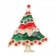 Christmas 20MM design Christmas tree with White red and green rhinestone enamel KC8033 snaps jewelry