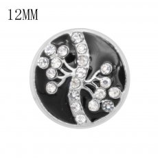 12MM design metal snap with white rhinestone KS7069-S black enamel snaps jewelry