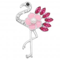 Ostrich 20MM snap Plated silver plating  With pink rhinestones pearls Drop oil KC9149 snaps jewelry