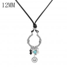 silver charms pendant Necklace with crystal beads metal shell 60cm chain Nacklace KS1289-S fit 12MM chunks snaps
