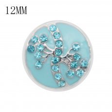 12MM design metal snap with blue rhinestone KS7072-S blue enamel snaps jewelry