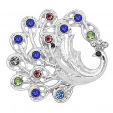 20MM Peacock snap Silver Plated with colorful rhinestone KC9190 snaps jewelry