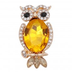 20MM Owl snap gold Plated with yellow rhinestone KC9185 snaps jewelry