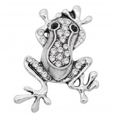 20MM Frog snap silver Plated with white rhinestone and enamel KC9195 snaps jewelry