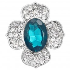 20MM  snap Silver Plated with cyan rhinestone KC9189 snaps jewelry
