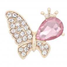 Butterfly 20MM  snap Gold Plated with Pink rhinestone KC9130 snaps jewelry