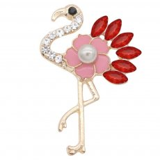 Ostrich 20MM snap Plated gold plating  With pink rhinestones pearls Drop oil KC9148 snaps jewelry