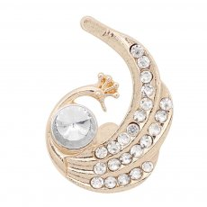 20MM Peacock snap gold Plated with white rhinestone KC9177 snaps jewelry