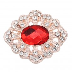 20MM design snap rose gold Plated with red rhinestone KC9178 snaps jewelry