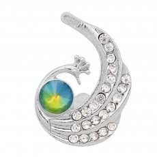 20MM Peacock snap Silver Plated with colorful rhinestone KC9176 snaps jewelry