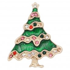 Christmas 20MM design Christmas tree with White   red and green rhinestone enamel KC8043 snaps jewelry