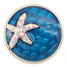 20MM  Starfish gold plated snap Silver Plated with  rhinestone  KC8041 Blue