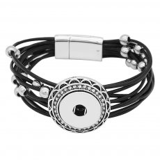 1 buttons Black leather with white rhinestone KC0502 new type Bracelet fit 20mm snaps chunks