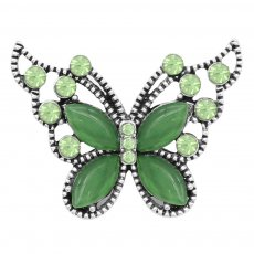 Butterfly 20MM snap charms Silver Plated with Green rhinestone  KC9210  snaps jewelry