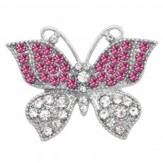 Butterfly 20MM snap charms Silver Plated with Pink rhinestone  KC9211 snaps jewelry