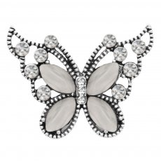 Butterfly 20MM  snap charms Silver Plated with gray  rhinestone  KC9207 snaps jewelry