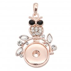 snap Rose Gold Pendant With white rhinestones  fit 20MM snaps style jewelry KC0474