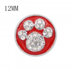 12MM design Cat paw print metal charms snap with White rhinestone Red enamel KS7093-S snaps jewelry