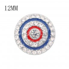 12MM design Round metal charms snap with White rhinestone enamel KS7112-S snaps jewelry