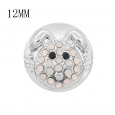 12MM design Round Rabbit metal charms snap with White rhinestone KS7108-S snaps jewelry