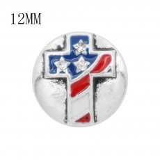 12MM design Round Cross metal charms snap with White rhinestone KS7107-S snaps jewelry