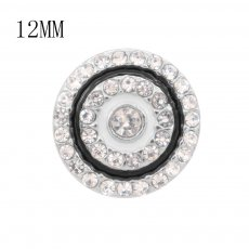 12MM design Round metal charms snap with White rhinestone enamel KS7113-S snaps jewelry