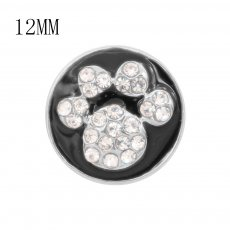 12MM design Cat paw print metal charms snap with White rhinestone Black enamel KS7095-S snaps jewelry