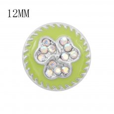12MM design Flowers metal charms snap With colorful rhinestones Green enamel KS7110-S snaps jewelry