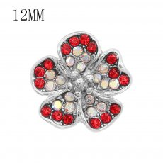 12MM design Flowers metal snap charms with Red and colorful rhinestone KS7101-S snaps jewelry