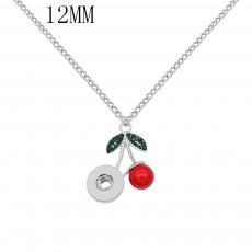 pendant Necklace with Green rhinestones And red pearls 42cm chain KS1293-S fit 12MM snaps jewelry