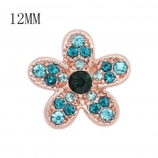 12MM design flower Rose Gold metal snap with Blue rhinestone KS7106-S charms snaps jewelry