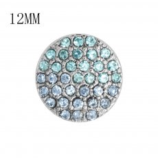 12MM design Round metal silver plated snap with blue rhinestone KS7134-S charms snaps jewelry