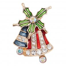 20MM Christmas snap gold Plated with rhinestone and enamel KC9247 charms snaps jewelry