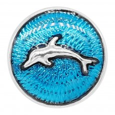 20MM Dolphin snap silver Plated with blue enamel charms KC9233 snaps jewerly