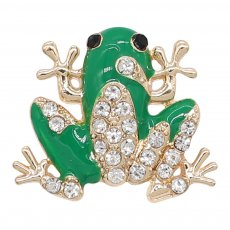 20MM Frog snap gold Plated with white rhinestone and green enamel KC9250 charms snaps jewelry