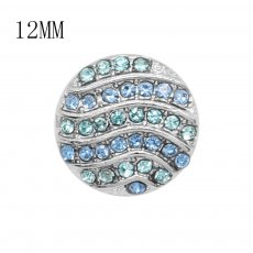 12MM design Round metal silver plated snap with blue rhinestone KS7129-S charms snaps jewelry