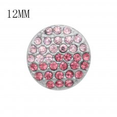 12MM design Round metal silver plated snap with pink rhinestone KS7133-S charms snaps jewelry