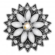 20MM flowers snap silver Plated with white rhinestone KC9245 charms snaps jewelry