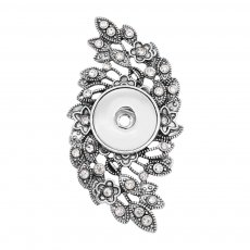 snap sliver Pendant With white rhinestones fit 20MM snaps style jewelry KC0475