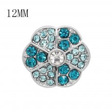 12MM design Round metal silver plated snap with blue rhinestone KS7136-S charms snaps jewelry