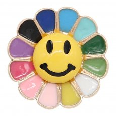 charms 20MM Gold snap Smile colorful enamel KC8098 charms snaps jewelry
