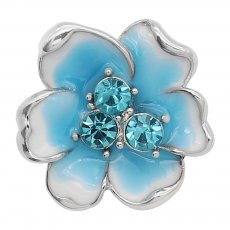 20MM flowers snap silver Plated with Blue rhinestone enamel KC8100 charms snaps jewelry