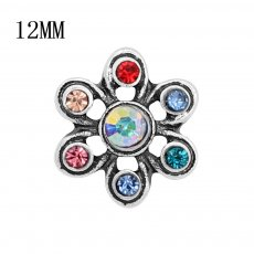 12MM Design Metall versilberter Druckknopf mit buntem Strass KS7127-S Charms Multicolor