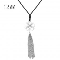 Necklace 60cm leather chain KS1295-S fit 12MM chunks snaps jewelry