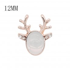 12MM Christmas design Rose Gold metal plated snap with White natural stone KS7139-S charms snaps jewelry