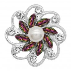 20MM flowers snap silver Plated with colorful rhinestone And pearls KC9258 charms snaps jewelry