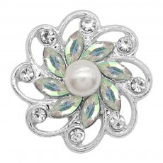 20MM flowers snap silver Plated with colorful rhinestone And pearls KC9256 charms snaps jewelry