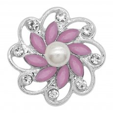 20MM flowers snap silver Plated with purple rhinestone And pearls KC9259 charms snaps jewelry