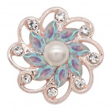 20MM flowers snap rose-gold plated with Light Blue  rhinestone And pearls KC9268 charms snaps jewelry