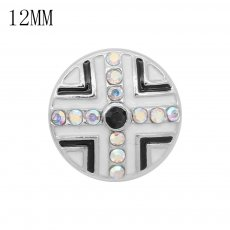 12MM design metal snap with colorful rhinestone KS7142-S white enamel snaps jewelry